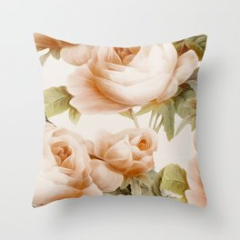 Roses rose beige salmon Throw Pillow