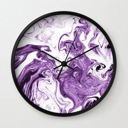 Marble Suminagashi lilac 4 watercolor pattern art pisces water wave ocean minimal design Wall Clock