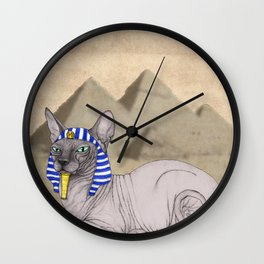Sphynx Cat With Pyramids of Giza Wall Clock