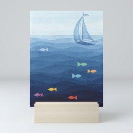 Coloured fish say hooray Mini Art Print