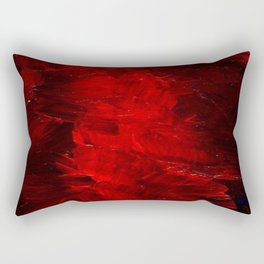 Red Abstract Paint Rectangular Pillow