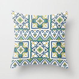 Italian Tile Pattern – Sicilian ceramic from Caltagirone Throw Pillow