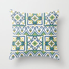 Italian Tile Pattern – Sicilian ceramic from Caltagirone Throw Pillow