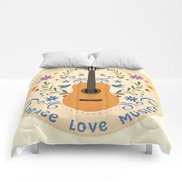 Peace Love And Music Folk Guitar Badge Comforters