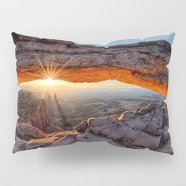 Mesa Arch Sunburst Canyonlands National Park.  by Lena Owens Pillow Sham