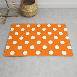 XX Large White on Pumpkin Orange Polka Dots Rug