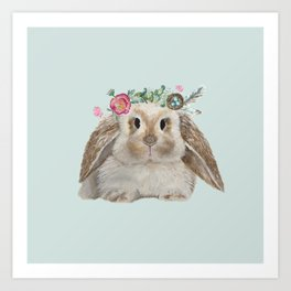Spring Bunny with Floral Crown Art Print