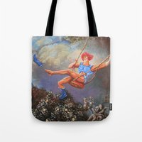 thundercats Tote Bags featuring Thunder Swing by Hillary White