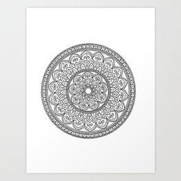 Intricate Black and White Mandala Drawing Art Print