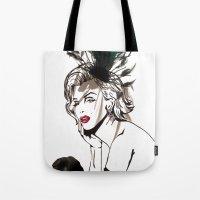 monroe Tote Bags featuring Monroe  by AnneSinclair11