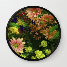 POINT CLEAR FLOWERS Wall Clock