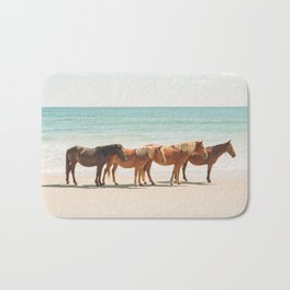 Summer Beach Horses Bath Mat