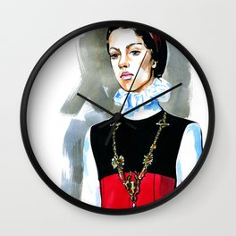 fashion #53: girl with a heavy necklace on her neck Wall Clock