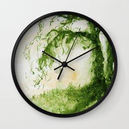Green Sap Green WaterColour Tree by CheyAnne Sexton Wall Clock