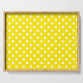 Polka Dot Yellow And White Serving Tray