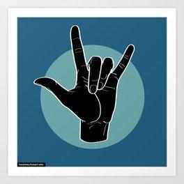 ILY - I Love You - Sign Language - Black on Green Blue 07 Kunstdrucke