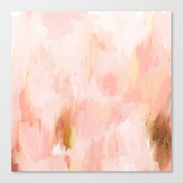 Abstract minimal peach, millennial pink, white and gold painting Canvas Print