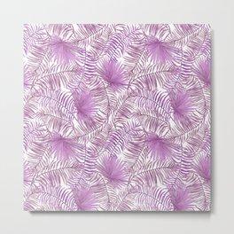 Pastel lilac pink watercolor tropical palm tree leaves Metal Print