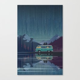 Retro Camping under the stars Canvas Print