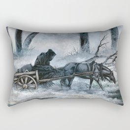 Grim Reaper with Horse in the Woods Rectangular Pillow