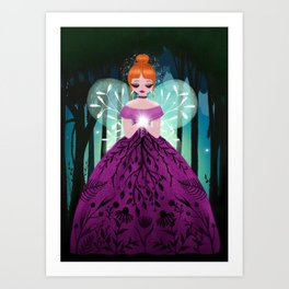 In The Ancient Forest The Woodland Fairy Walks Art Print