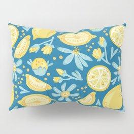 Lemon Pattern Blue Pillow Sham