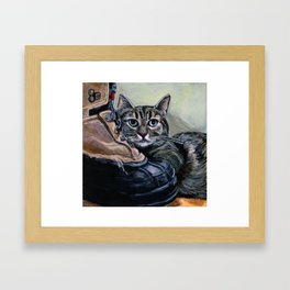 Brown Tabby Cat with her Best Friend, A Boot Framed Art Print