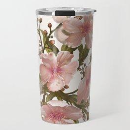 Blush Pink Watercolor Flowers Artwork Travel Mug