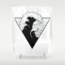 Wave Triangle black and white Illlustration sea swell Shower Curtain