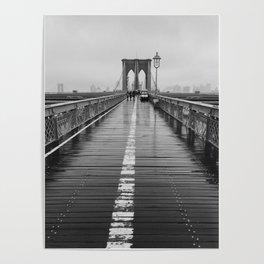 Black and White Brooklyn Bridge Poster