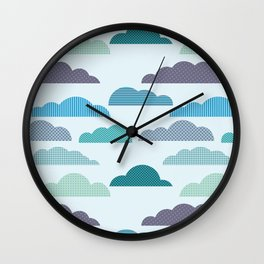 Rainy autumn seamless pattern with clouds Wall Clock
