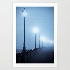 Misty Waterfront Art Print