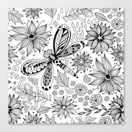 Dragonfly and flowers doodle Canvas Print