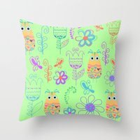 owls Throw Pillows featuring Owls by luizavictoryaPatterns