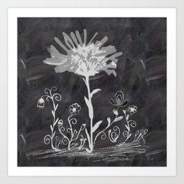 Flowers on chalkboard Art Print