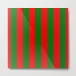 Wide Red and Green Christmas Cabana Stripes Metal Print