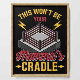 Momma's Cradle Grappling Wrestling Fan Dad Wrestler Gift Serving Tray