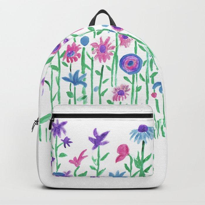Cheerful spring flowers watercolor Rucksack