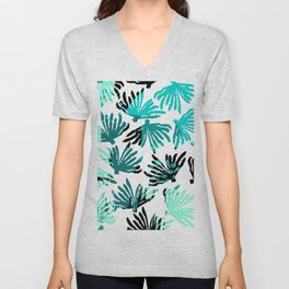 Abstract black teal watercolor coral floral Unisex V-Neck