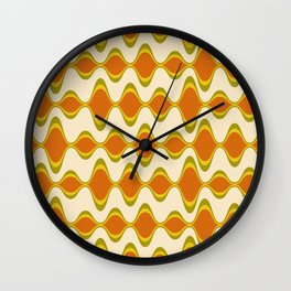 Retro Psychedelic Wavy Pattern in Orange, Yellow, Olive Wall Clock