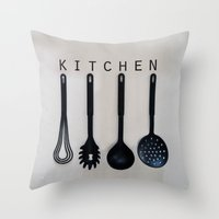 kitchen Throw Pillows featuring KITCHEN by MadiS