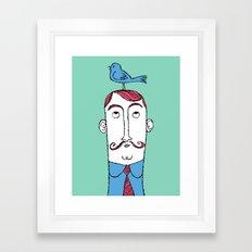 Birdie on Top (Teal) Framed Art Print