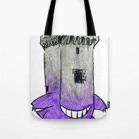 gengar Tote Bags featuring Castle Gengar by notalkingplz