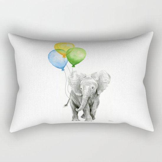 Elephant Watercolor Baby Animal with Balloons - Blue Yellow Green Rectangular Pillow