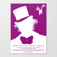 willy wonka Canvas Prints featuring Willy Wonka Tribute Poster by stefano manca