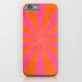 orange and hot pink starburst iPhone Case