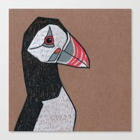 puffin Canvas Prints featuring Puffin by Bizarre Bunny