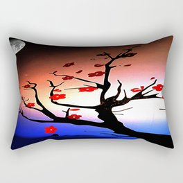 Japanese Maple Under Night Sky With Moon Rectangular Pillow