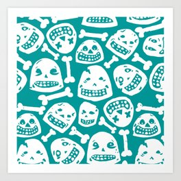 Skulls Pattern 1 (Teal) Art Print