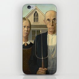 American Gothic Oil Painting by Grant Wood iPhone Skin